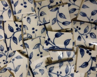 """50  Blue Vines & Berries  Mosaic Tiles about 3/4""""  to  1"""""""