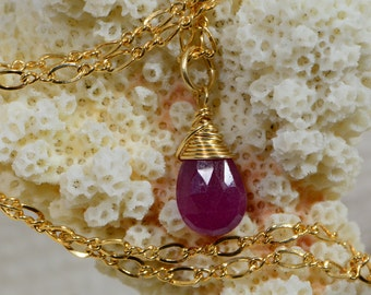 Natural Ruby Briolette Pendant, Wire Wrapped Drop Birthstone  Gemstone wire wrapped teardrop