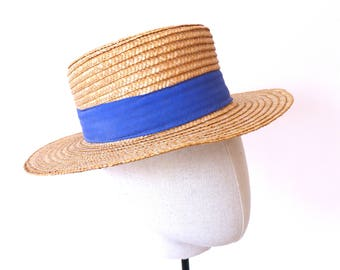 Vintage Canotier Straw Hat, Canotier, Straw Hat, Boater, Boating Hat, Women Hat, Straw Accessories, Vintage Straw Hat, Vintage Women's Hats