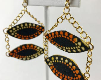 Black and Orange Ovals Earrings