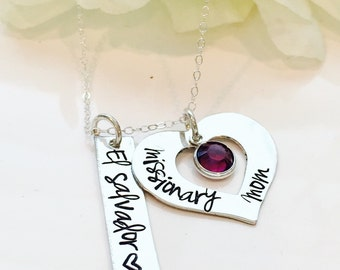 Hand Stamped Missionary Mom Necklace-Personalized Missionary Mom Necklace-LDS Missionary Necklace