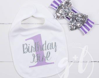 First Birthday Bib & Party headband, Purple and silver headband, First Birthday Set