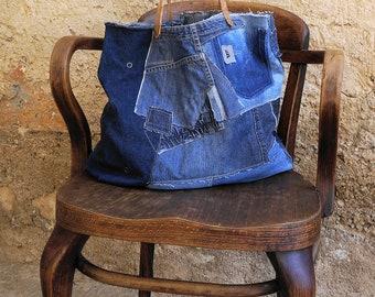 Jeans bag, denim bag, jeans tote bag, beach bag, canvas bag,denim tote,shopping bag, handbag, bag, levis denim, upcycled jeans, dark  blue