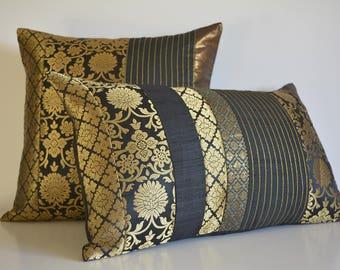 12 x 20 inch Black and Gold Silk  Brocade Pillow Cover , Black Brocade Accent Cushion Cover , Black and Gold Decorative Lumbar Pillow Cover