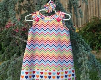 Remix Chevron Dress w/Hearts Band, Red, Orange, Hot Pink, Yellow, Blue, Green (girls, infant, toddler, child)  jumper or sundress