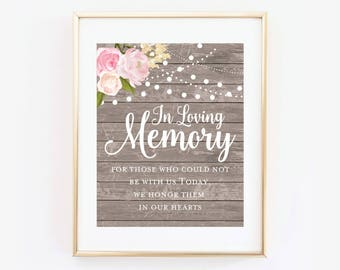 In Loving Memory Sign, Wedding Sign, Memory Sign, Heaven Sign, In Loving Memory Wedding Sign, Printable Sign, Rustic Wedding Sign #CL138
