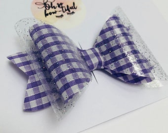 Lilac gingham Double layer bow, School bow, glitter tanaparent PVC bow,