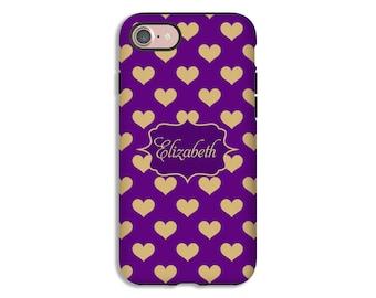 Personalized iPhone 8 Plus case, iPhone 7 case, gold hearts iPhone 7 Plus case, iPhone 8 case, iPhone X case, iPhone 6s/6s Plus/6/6 Plus