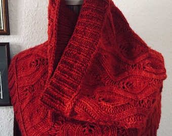 Ruby Red Cowl - Hand Knitted Lace Cowl - Merino