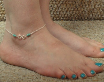 Sterling silver Infinity turquoise ankle bracelet, Infinity anklet, Gifts, Infinity jewelry, Sterling silver anklet, Turquoise jewelry