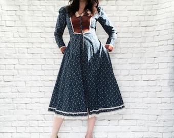 Vintage 70s Gunne Sax Navy Calico Velvet Trim Victorian Prairie Midi Dress M L Puff Sleeves Pockets