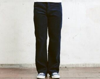 80s Dark Blue Corduroy Pants . Men's Cord Trousers Tappered Pants Dad Peg Leg Hipster Nerd Pants Ankle Pants . size Extra Large XL