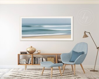 Large Abstract Beach Art, Ocean Panorama Photo Print, Nautical Wall Decor, Sea Fog Waves Picture, Cape Cod Seascape Photography, Eastham MA