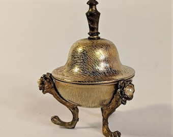 Miniature Bell Gold Textured Three Footed with Pearl Accents