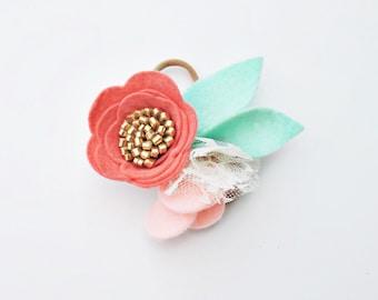Felt Flower Headband - Nylon Headband - Childrens Headbands - Coral and Mint Headband - Toddler Headband - Special Occassion Headband