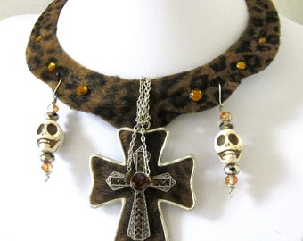 Day of the Dead Necklace Sugar Skull Jewelry Cross