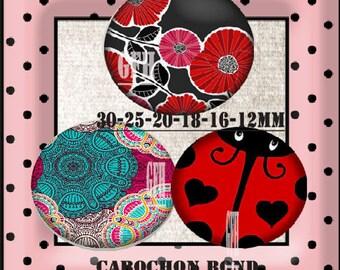 Image digital Ladybug vintage flower glass cabochon