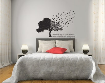Birds Form A Tree Wall Decal | bedroom wall art bedroom wall decor flock of birds flying birds dream quote birds on tree wall decal
