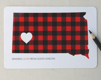 South Dakota Love Postcards Set - Set of Ten South Dakota Flannel Postcards by Oh Geez! Design