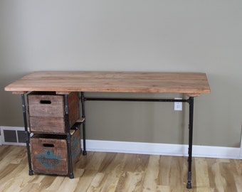 Sturdy Statements Customizable Reclaimed Wood Desk With Optional Drawers