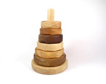 Jouet d'Eveil Empilable  en bois // Jeu de Construction pour enfant // Jouet éducatif pour bébé // Pyramide en bois