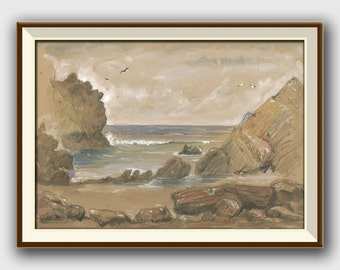 PRINT- Beach seascape - sea gulls sea birds- Beach home decoration, seascape art wall -beach art watercolor- Art Print by Juan Bosco