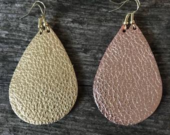 Leather Metallic Teardrop Earring
