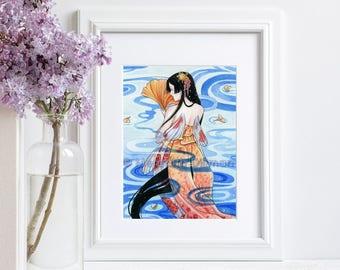 Mermaid art, Koi fish, Japanese, Art Print, illustration, watercolor art print, siren, 5x7