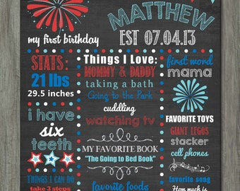 First Birthday Chalkboard Poster, First Birthday Milestone Chalkboard, Printable Chalkboard Poster, 4th of July, Red White and Blue