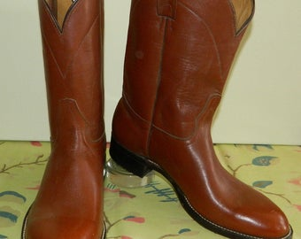 10 D 70s All Leather Ropers Cowboy Boots Chestnut Brown Deadstock New Old Stock Men's Boots Made in the U.S.A. nos wyogems