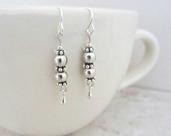 Silver earrings.  Silver bead earrings. Silver dangles. Best selling jewelry.  Best Selling Earrings.  Mothers Day Earrings