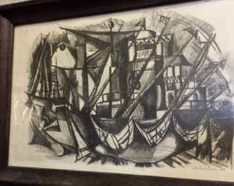 1958 Abstract Charcoal Signed Original Composition on Paper by Barbara Davis in Original Vintage Mid Century Frame