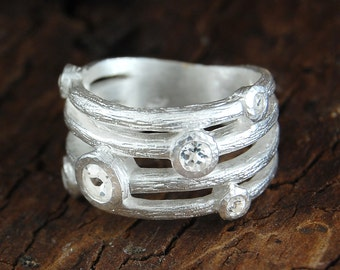Sterling Silver Ring, Handmade Ring, Gemstone Ring, Designer Ring, Natural Stone Ring, White Topaz Ring, Diamond Silver Ring, Textured Ring