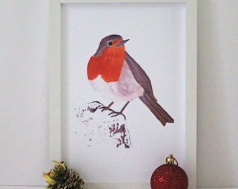 Winter Robin Wall Art Print Painting with White Frame