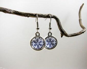 Blue snowflake earrings, Winter earrings, Christmas gift, Silver dangle earrings, Dainty earrings, Unique jewelry, Glass dome jewelry, white