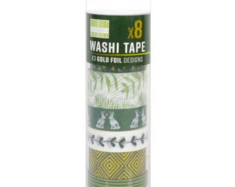 First Edition - Washi Tape 10m Rolls - Set of 8 - Kale - Green Washi Tapes