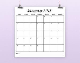 Square 2018 Calendar Template | INSTANT DOWNLOAD | Large Monthly Printable Script Desk Calender | Prints up to 12 x 12 Inches
