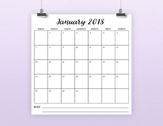 square 2018 calendar template instant download large