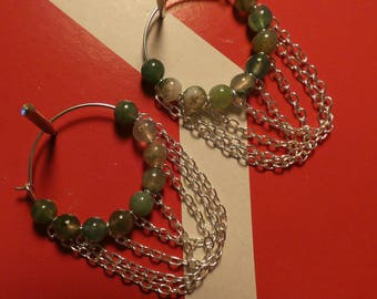 Earrings beads natural stone creative. Gift for her. Hearts creative earrings from nephrite and chains