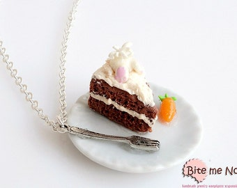 Mini Food Easter Carrot Cake Necklace, Cake Necklace, Bunny Necklace, Carrot Necklace, Food Jewelry, Easter Necklace, Cute Jewelry