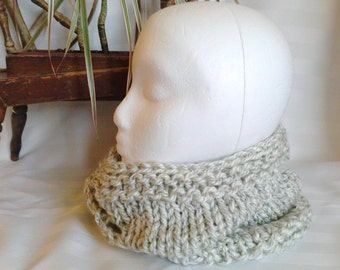 Ready to Ship. Bulky Knit Infinity Scarf. Neck Warmer. Neck Scarf. Oatmeal. Heathered. Cowls for Men. Cowls for Women. Joyful HandKnits.