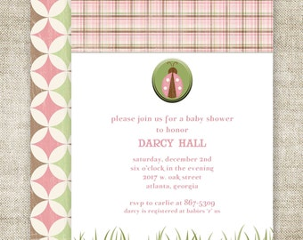 GIRL BABY SHOWER Invitations Digital Printable Personalized Lady Bug Pink Plaid - 81441362