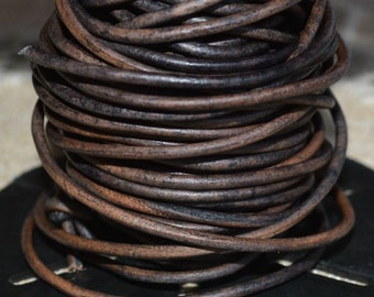 1mm Round Leather Cord Grey Natural Dye 2 yards 1.83m