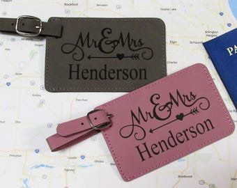Arrow Heart Mr. & Mrs. Luggage Tags - Pink and Gray - Set of 2  - Personalized Luggage Tags - Wedding Gift - Bridal Shower Gift