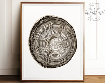 Nature print, PRINTABLE art, Wood slice, Sepia print, Modern print, Wall art print, Minimalist print, Modern minimalist print, Neutral print