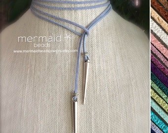 Blue Choker Leather Choker Vegan Suede Lariat Tie Necklace Mothers Day Gift Idea for Her Silver Spike Boho Long Wrap Festival Custom Color