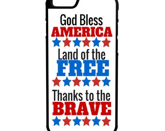 God Bless America  iPhone, Galaxy, Note, LG G4 Hybrid Rubber Protective Case