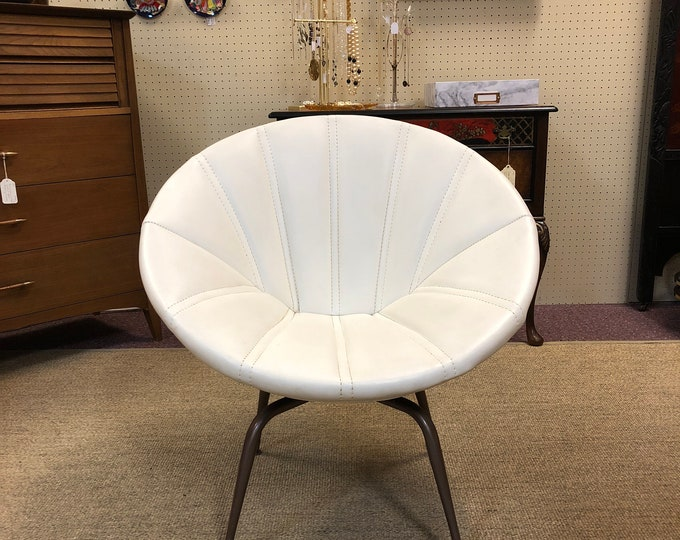 Mid Century Modern White Vinyl Saucer / Pod Swivel Lounge Chair