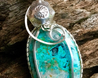 Sterling silver hand wrapped Chrysocolla pendant