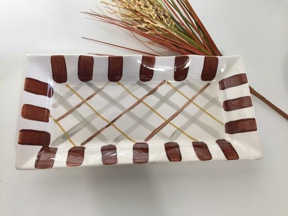 Hand painted fall, plaid platter, Autumn platter, brown plaid plate, Thanksgiving dish, Handpainted, ceramic, ruffle dish